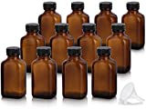 3 oz / 90 ml Amber Glass Rectangle Apothecary Bottle with Airtight Cap (12 PACK) + Funnel