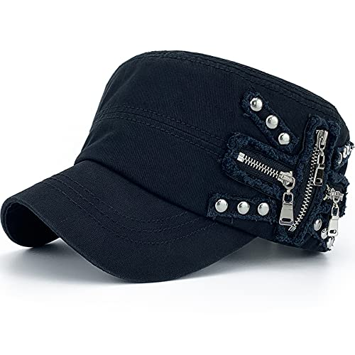REDSHARKS Women Soft Washed Cotton Zip Cadet Army Cap Adjustable Military Hat Flat Top Baseball Sun Cap Zipper Stud Black