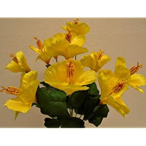 Artificial Silk Flowers Yellow Hibiscus Bush 18″ Bouquet Get 10 Flowers MG019