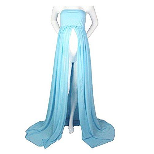 Mujer Embarazada Gasa Larga Vestido de Maternidad Split Vista Delantera Foto Shoot Dress Faldas fotográficas de Maternidad (Cielo Azul)