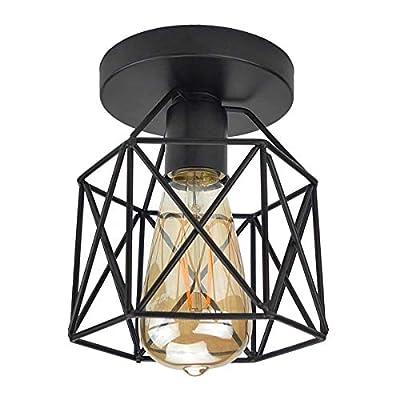 Semi Flush Mount Ceiling Light E26 E27 Lysed Retro Black Industrial Pendant Ceiling Light Fixture Black Wall lamp Ceiling Light Fixture for Porch Hallway Kitchen Stairway Farmhouse Lighting