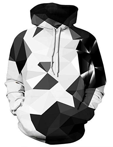 Goodstoworld Herren Damen Geometrie 3D Kapuzenpulli Coole Muster Grafik Slim Fit Kapuzenpullover Hoodie Kapuzensweatshirt Kapuze Top XL