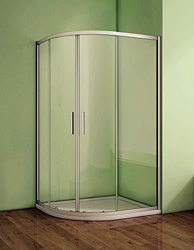Eckeinstieg Duschkabine 80x80x185cm Duschabtrennung Viertelkreis Runddusche Duschtür 5mm Sicherheitsklarglas Größe 76-120cm frei auswählbar