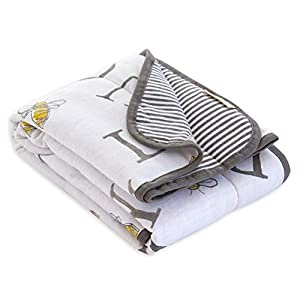 Burt's Bee Baby – Reversible Blanket, Nursery, Stroller & Tummy-Time Organic Jersey Cotton Quilted Infant & Toddler Bedding (A-Bee-C)