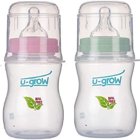 U-Grow Anti Colic Wide Neck Self Sterilizing Feeding Bottle (Pink & Green) Pack of 2 (330 ML)