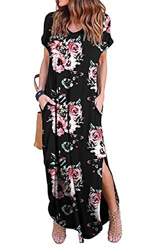 Vestidos Mujer Casual Playa Largos Verano Floral Vestido Boho Hendidura Falda Larga Maxi Vestido Playeros Blackfloral S