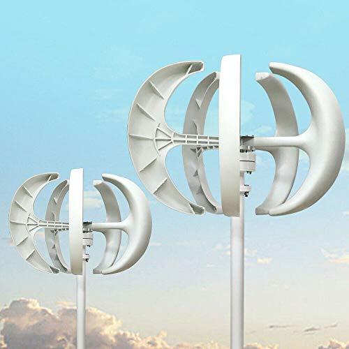 Wangkangyi 600W Vertical Axis Lantern Type Wind Turbine Generator Wind Turbine Generator VAWT Kit mit Controller und 5 Blades (24V, Weiß)