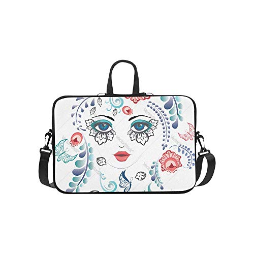 15.6″Lightweight Laptop Notebook Shoulder Backpack Bag Floral Girl Face Vector Waterproof PC Briefcase Messenger with Strap