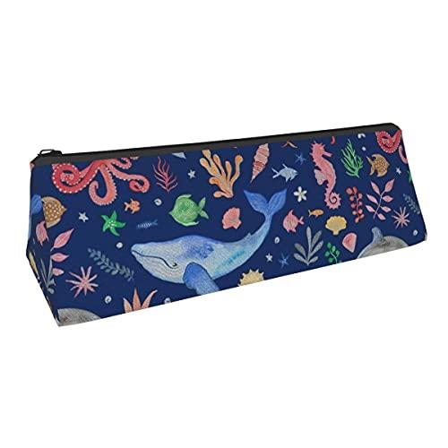 Whimsical Sea Theme Dark Blue Small Capacity Triángulo Pen Bag Bolsa de almacenamiento para niños y niñas, universidad, escuela media, oficina, alicates papelería