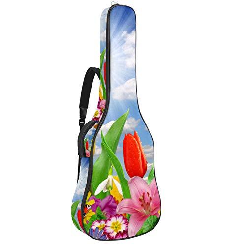 Gitarrentasche für Akustikgitarre, 104 cm, hochwertig, doppelt verstellbar, Blumen und Schmetterlinge
