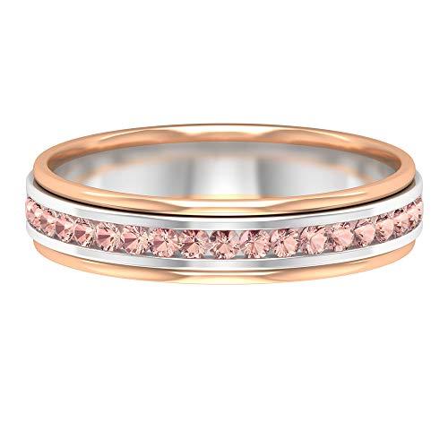 Rosec Jewels 14 quilates oro blanco redonda Laboratorio de morganita creado