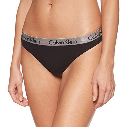 Calvin Klein Damen String RADIANT COTTON - THONG, Gr. 40 (Herstellergröße: L), Schwarz (BLACK 001)