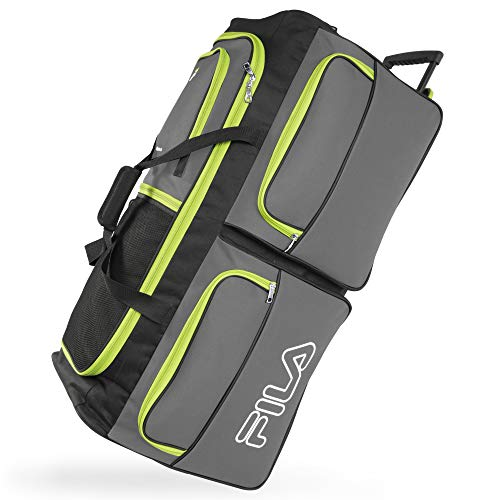 Fila 7-Pocket Large Rolling Duffel Bag, Grey/Neon Lime, One Size