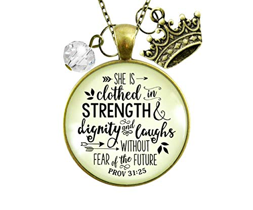 Gutsy Goodness 36' Faith Necklace She is Clothed Strength Dignity Jewelry Message Proverb 31 Crown...