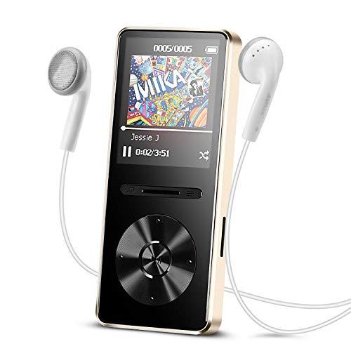 AGPTEK Bluetooth 5.0 MP3, Metall Musik Player, HiFi Lossless, mit FM Radio,Sprachaufzeichnung,E-Book, 8GB Erweiterbar bis 128 GB, Gold, A29T