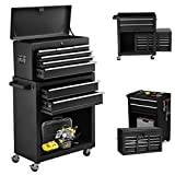 8-Drawer Rolling Tool Chest, 2 in 1 Detachable Tool Chest with Drawers and Lock, High Capacity Tool Storage Cabinet on Wheels, Portable Tool Box Organizer for Mechanic Garage and Warehouse