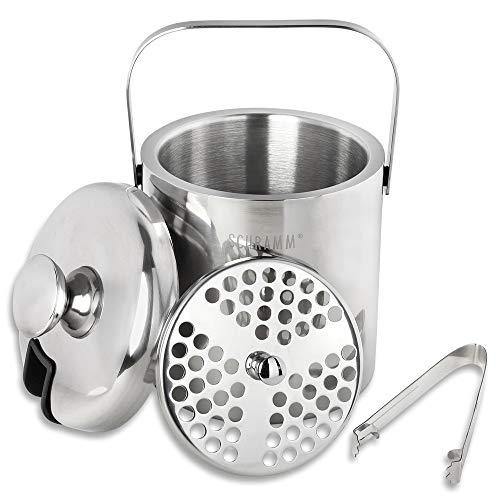 Schramm® Eiswürfelbehälter mit Deckel und Zange Weinkühler 1,3 Liter Eiseimer Eiskübel Sektkühler doppelwandig Eiskühler mit Henkel