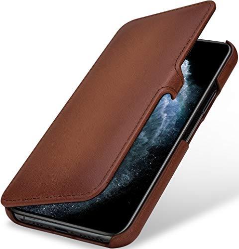 StilGut Book Case kompatibel mit iPhone 11 Pro Hülle aus Leder mit Clip-Verschluss, Klapphülle, Handyhülle, Lederhülle - Braun Antik