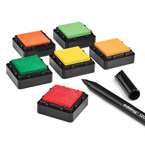 KATINGA Stempelkissen (6er Set) Herbst mit Stift für Fingerabdrücke, zum Basteln und zum kreativen Gestalten (6er Herbst)