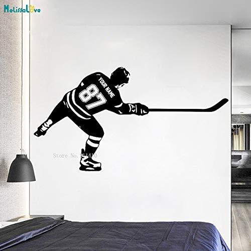 ASFGA Sport benutzerdefinierte Name und Nummer Hockey Wandtattoo personalisierte Spieler schießen Vinyl Wandaufkleber Wohnkultur für Kinder Jungen Schlafzimmer 157x84cm