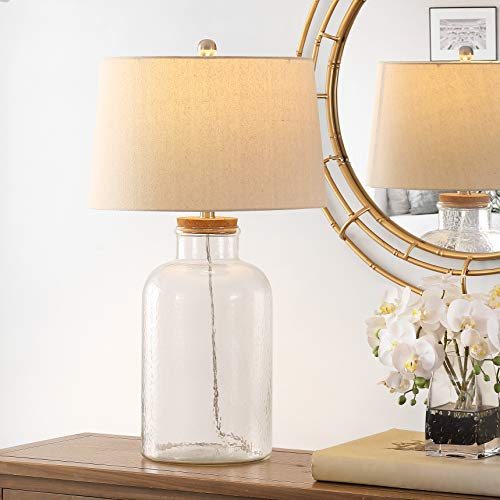 Safavieh Lighting Collection Caden 28-inch Clear Glass Table Lamp (Set of 2) -LED Bulb Included TBL4308A-SET2