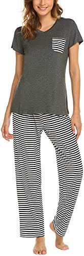 Pijama Mujer De 2 Piezas con Manga Corta Pantalon Largo Ropa De Dormir Algodón Nightwear Elegante Camisetas + Pantalones (Gris, M)