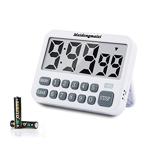 maidongmaixi Kitchen Timer, Digital Kitchen Timers, Magnetic Countdown Timer with Loud Alarm, Big Digits, Back Stand for Cooking, Classroom, Bathroom, Teachers, Kids - AAA Battery Included (White-316)
