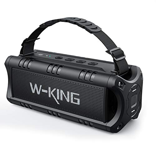 30W Bluetooth Lautsprecher, W-KING Tragbarer Musikbox, 5000mAh Batterie, 24-Stunden Akkulaufzeit, Wasserdicht Bluetooth Speaker Box mit Bass, TWS, NFC, TF Karte, USB Stick