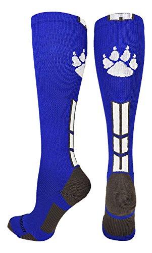 MadSportsStuff Wild huellas sobre la pantorrilla calcetines (en varios colores), azul rey/blanco/grafito