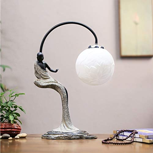 Lfixhssf Chinese klassieke hars-tafellamp Simple Warm Art Modern Retro slaapkamer bedlampje decoratief licht E27 LED Computer Desk Light Lfixhssf
