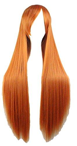 Quibine 80cm Longue Ligne Droite Perruque Cosplay Multicolore Perruques Orange
