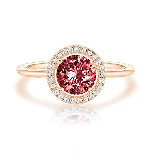 Swarovski Crystal 14K Rose Gold Plated Birthstone Rings | Rose Gold Rings for Women | Garnet Ring