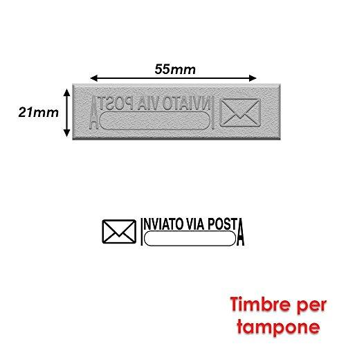 Briefmarke Gummi für Stempel Stempelkissen 55x 21mm Text Italienisch–inviato Via Posta 2