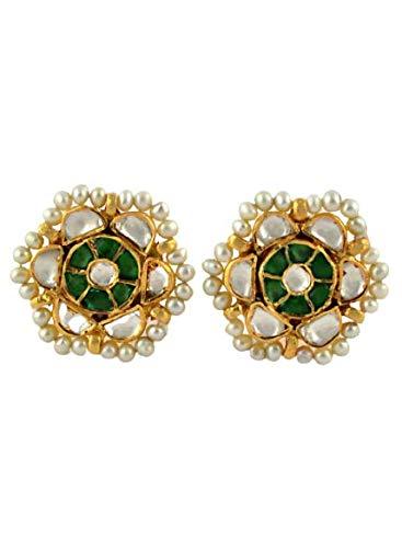 Kundan Flower Earring, 92.5% Sterling Silver, Push Back Earring, Handmade Earring, Traditional Earring