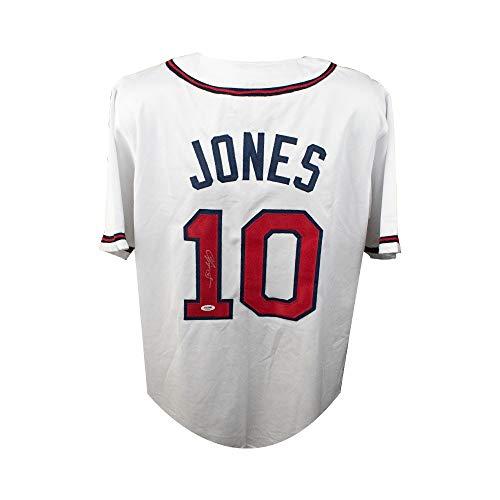 Chipper Jones Autographed Atlanta Braves Custom White Baseball Jersey - PSA/DNA COA (B)