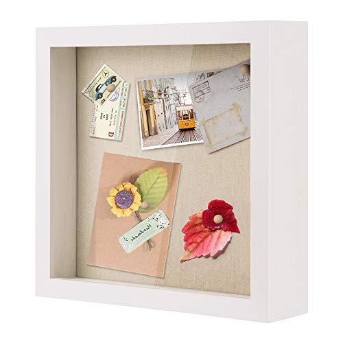 Love-KANKEI 11x11 Shadow Box Vitrine mit Massivholzrahmen & abnehmbarem Glasfenster für Erinnerungsfotos, Auszeichnungen, Medaillen, weiß
