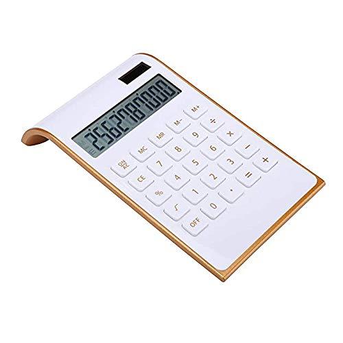 Leoyee Calcolatrice, 10 Cifre Calcolatrice Da Tavolo A Doppia Alimentazione, Elettronica Per Ufficio/Casa, Energia Solare, Display LCD Inclinabile (Bianc Oro)
