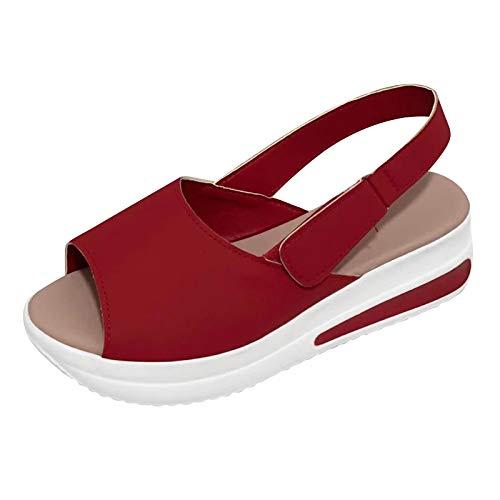 Uwhsag Sandalen Damen Sommer Pantoffeln Slippers Schuhe Bequeme Orthopädische Pantolette Hausschuhe rutschfest Sommer Aushöhlen Sandaletten Casual Slingback Open Toe Schuhe (Rot, 39)