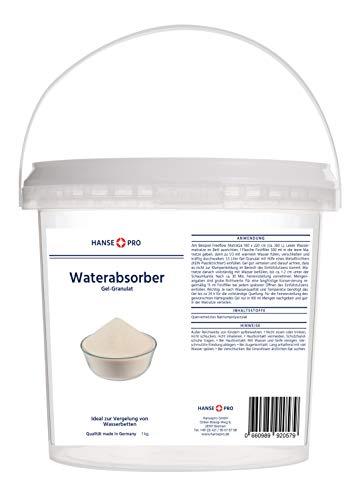 BFT Superabsorber Hansepro Gel-Granulat für Gelbetten & Wasserbetten, 1 kg I Vergelung von Wasserkernen I Gelierung I Beruhigt und verfestigt Wasserbetten-Matratzen