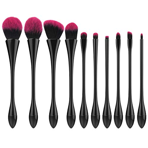 Luxspire 10PCS Professional Makeup Brush, Make up Brushes Set Powder Brush Eyelash Brush Eye Brow Brush Cosmetic Brush Set Makeup Tool with Canton Tower Shaped Brush Handle, Black