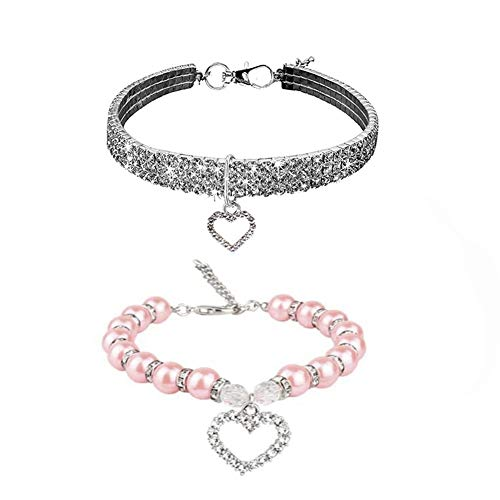 WoYous Rhinestones Dog Collar and Pearl Dog Necklace Set, Adjustable Neck Strap Bling Full Diamond Crystal Cute Pearl Dog Collar for Small Girls Cats Puppy Accessary for Wedding Birthday Party (S)