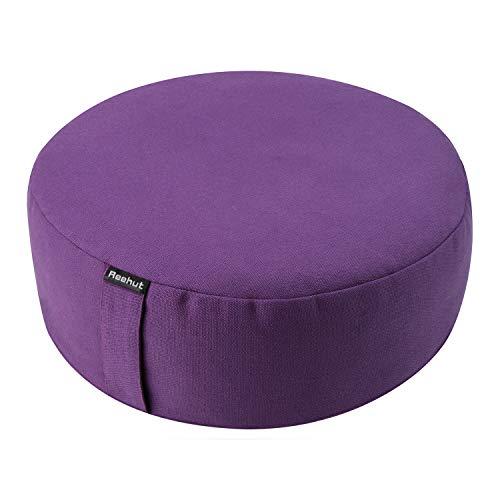 "REEHUT Zafu Yoga Meditation Cushion, Round Meditation Pillow Filled with Buckwheat, Zippered Organic Cotton Cover, Machine Washable - 4 Colors and 3 Sizes (Purple, 13""x13""x4.5"")"