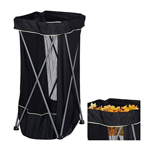 Relaxdays Gartenabfallsack, 130 L, Faltbarer Laubsack mit Ständer, eckig, robuster Gartensack für Grünabfall, schwarz