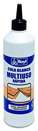 Rayt 036-81 Botellín de cola blanca multiuso rápida para madera, papel, cartón, cerámica y todo tipo de materiales porosos, 750gr