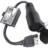 CARROFIX US Style 4-Pole Flat Adapter to European 13-Pin Plug - US Vehicle 4 Pin to EU 13-Pin Round Trailer Light Converter