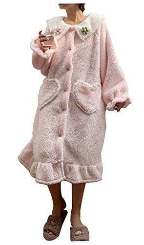 RHSML Pijamas de Felpa para Mujer, Jersey de Manga Larga, Pantalones de chándal, Pijamas cálidos Casuales, Ropa de hogar Suave y Linda, Dulce en Invierno y se Puede Usar al Aire Libre(One Size, Pink)