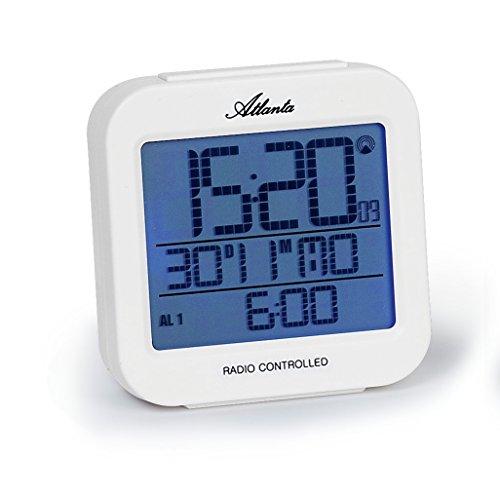 Atlanta Funkwecker Digital LCD Beleuchtung 2 Alarme Weiss - 1809-0