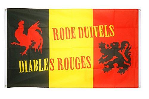 Digni Drapeau de Balcon (avec 4 Oeillets) supporteur Belgique Diables Rouges - 90 x 150 cm Sticker Gratuit