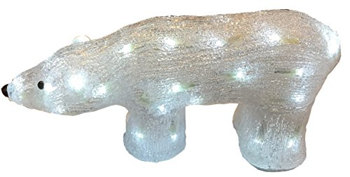 LISSEK LED Eisbär Polarbär 41x19x14cm Innen und Außen Acrylbär 5 Meter kabel