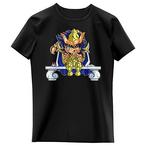 Okiwoki T-Shirt Enfant Fille Noir Parodie Saint Seiya - Milo du Scorpion Le Chevalier d'or - L'ongle écarlate : (T-Shirt Enfant de qualité Premium de Taille 11-12 Ans - imprimé en France)